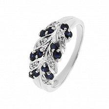 Серебряное кольцо Колосок с сапфирами и фианитами