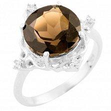 Серебряное кольцо Женевьев с раухтопазом и фианитами