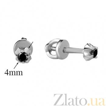 Серьги-пуссеты из серебра с черными фианитами Леди HUF--2082-Рч