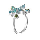 Золотое кольцо с голубыми топазами, хризолитами и бриллиантами Жасмин