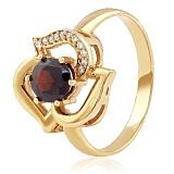 Золотое кольцо с гранатом и фианитами Вечерняя роза