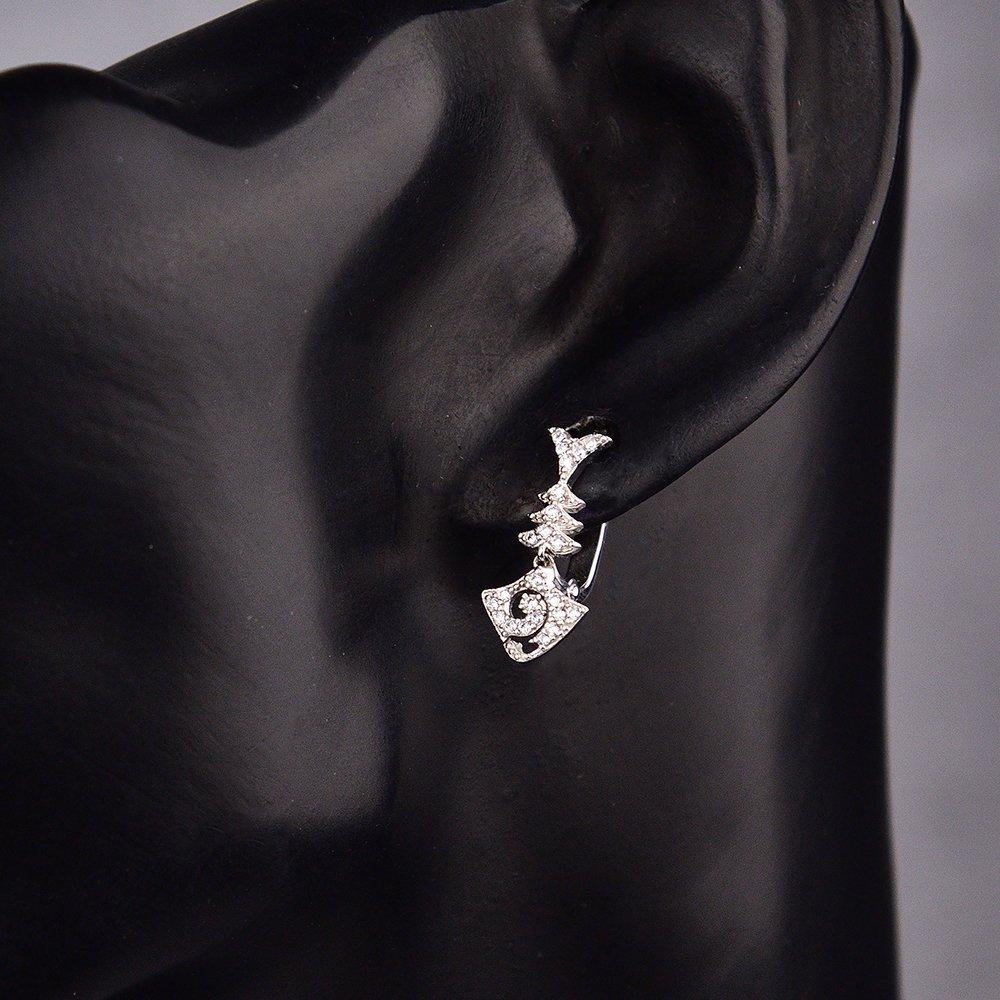 Серебряные серьги-подвески Скелет рыбы с фианитами