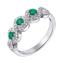 Cеребряное кольцо с изумрудами и фианитами 000145062