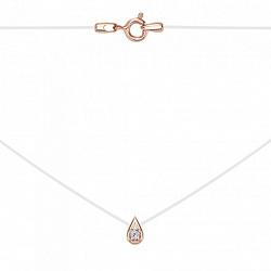 Колье Капля на силиконовой нитке с золотой подвеской и белым фианитом
