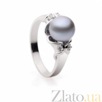 Золотое кольцо с черным жемчугом Королева ночи SG--11329901