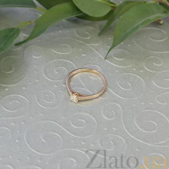 Кольцо в красном золоте Единственная с бриллиантом огранки принцесса 000079322