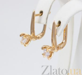 Серьги из красного золота с цирконием Эдмонда VLN--213-1777