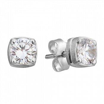 Серебряные серьги-пуссеты Bezel 000019582