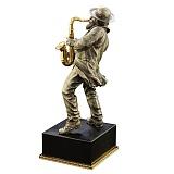 Бронзовая скульптура Саксофонист с серебрением и позолотой на подставке из оптического стекла