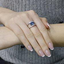 Серебряное кольцо Элиза с синтезированным топазом лондон и фианитами