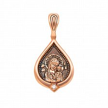 Золотая ладанка Божья Матерь Казанская в красном цвете с бриллиантом и чернением