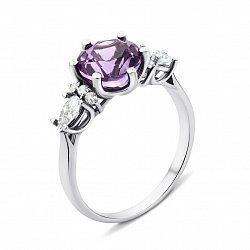 Серебряное кольцо с аметистом и фианитами 000134397