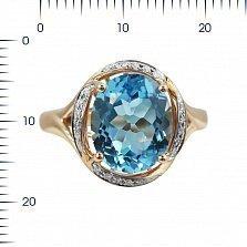 Золотое кольцо Мишель с бриллиантами и голубым топазом