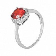 Серебряное кольцо Рашель с фианитом цвета граната