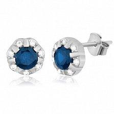 Серебряные сережки-гвоздики с фианитами Венона