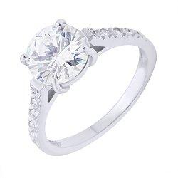 Серебряное кольцо с узорной шинкой и фианитами 000088445