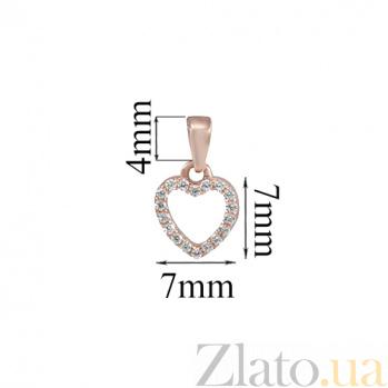 Золотой кулончик с цирконами Сердце SVA--310102510101