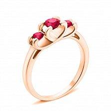 Кольцо из красного золота с рубинами 000131168