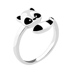 Серебряное кольцо Енот с белой и черной эмалью 000104655