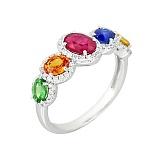 Золотое кольцо с сапфирами, цаворитом, рубином и бриллиантами Радуга