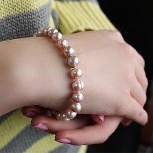 Жемчужный браслет с серебряной застежкой Морской этюд