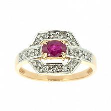 Золотое кольцо с рубином и бриллиантами Королева грез
