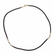 Шнурок шелковый Элиас с серебряной застежкой с позолотой