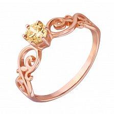 Золотое кольцо Пенелопа в красном цвете с кристаллом Swarovski