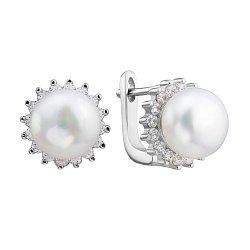 Серебряные серьги с жемчугом и цирконием 000132658