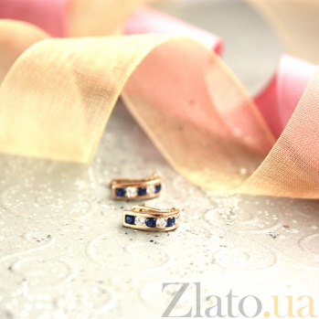 Золотые серьги Дормео с синими и белыми фианитами SUF--110144с