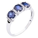 Золотое кольцо с сапфирами и бриллиантами Горные озера