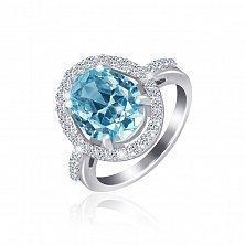 Серебряное кольцо с фианитами Лазурь