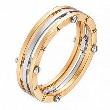 Золотое обручальное кольцо Счастливый союз в красном и белом цвете в стиле Барака