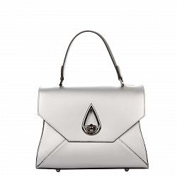 Кожаная деловая сумка Genuine Leather 8850 серебристого цвета на молнии и застежке-бабочке