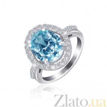 Серебряное кольцо Девика с голубым и белым цирконием 000025465