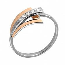 Серебряное кольцо с фианитами и золотой вставкой Верона