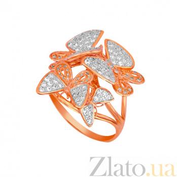Кольцо из красного и белого золота Весенние бабочки с фианитами VLT--ТТ1130-2