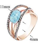 Кольцо в красном и белом золоте Маргарита с голубым топазом и фианитами
