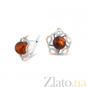 Серебряные родированные серьги Моретта с золотыми накладками, шариками янтаря и фианитами 000082133