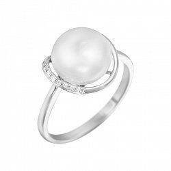 Кольцо из белого золота Алана с жемчугом и бриллиантами
