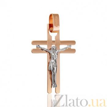 Мужской крест из красного и белого золота Восхождение EDM--КР0149