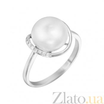 Кольцо из белого золота Алана с жемчугом и бриллиантами 000080963