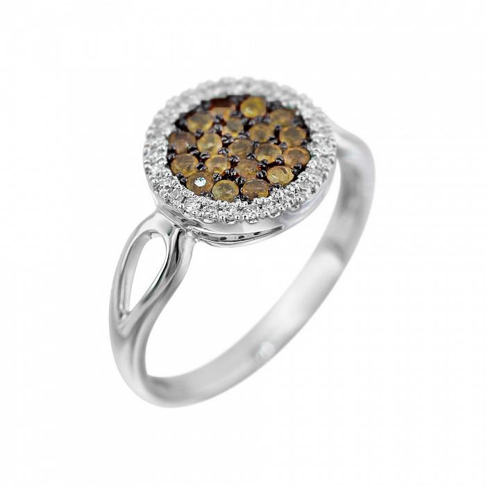 Кольцо из белого золота Динара с белыми и коньячными бриллиантами 000080952