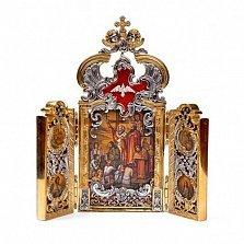 Серебряный складень Киевская Русь с бриллиантами