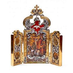 Серебряный складень Киевская Русь с бриллиантами, позолотой и цветной эмалью 000004297