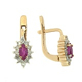 Золотые серьги с бриллиантами и рубинами Ялта