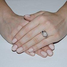 Серебряное кольцо Эврика с жемчугом, сапфиром и фианитами