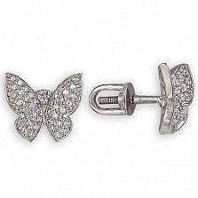 Серьги в белом золоте Парящая бабочка с фианитами