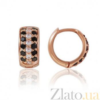 Золотые серьги-кольца Луиза с фианитами EDM--С079Ч