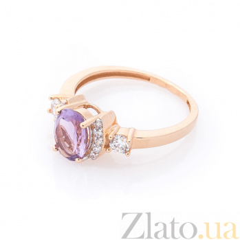 Золотое кольцо Августина в красном цвете с фиолетовым аметистом и белыми фианитами 000082346